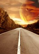 Stock Illustration of Road to surreal sunset