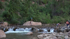 Zions National Park tourism river fun HD Stock Footage