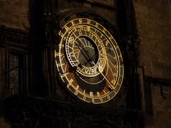 astronomical clock at night, prague - stock photo