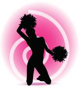Eps 10 vector illustration - funky cheerleader silhouette Stock Illustration