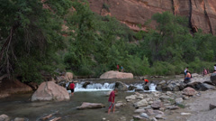 Zions National Park tourist river fun HD Stock Footage