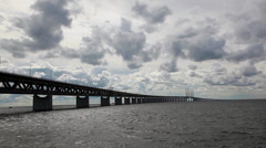 Oresund Bridge,oresunds bron, bridge on the sea ,time lapse Stock Footage