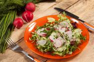 Stock Photo of salad with radish and green cucumber