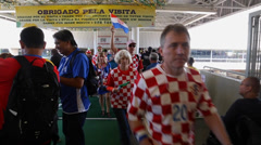 Stock Video Footage of Suporters enter in the stadium on Brazil versus Croatia