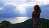 Stock Video Footage of Woman Enjoys Picturesque Sea View. Thailand. Koh Samui.