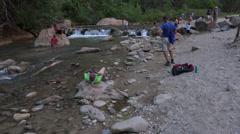 Zions National Park river tilt to cliffs HD Stock Footage