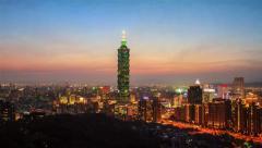Time lapse of Night view of the Taipei city, Taiwan Stock Footage