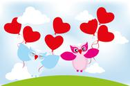 Stock Illustration of valentine day lovely owls greeting card
