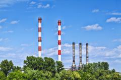 Chimneys of the heating plants - belgrade, serbia Stock Photos