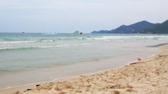 Big Waves Washing Sandy Thai Beach. Beautiful Scenic Seascape of Island. Slow Stock Footage