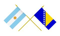 flags, argentina and bosnia and herzegovina - stock illustration