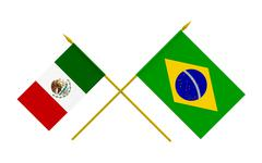 Stock Illustration of flags, brazil and mexico