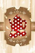teapot and cups on table in brown - stock illustration