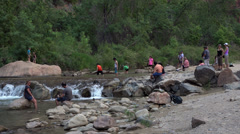 Zions National Park Utah river tourist keep cool HD 098 Stock Footage