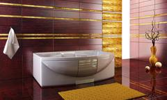 Staggered tiled design of the bathroom Stock Photos