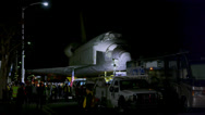 Stock Video Footage of Shuttle Endeavor parked at night HD