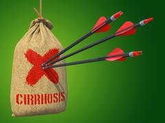 Cirrhosis - Arrows Hit in Red Mark Target. Stock Illustration