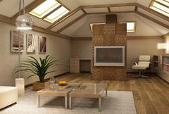 rmodern mezzanine interior 3d - stock photo