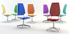 Colour office chairs 3d Stock Photos