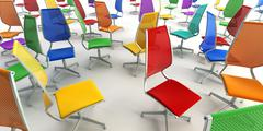 väri toimistotuolit 3d - stock photo