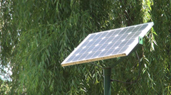 Solar cells. Photo-voltaic panels. Solar panel for public lighting. Cheap energy Stock Footage