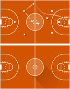 Vector illustration of strategy of a basketball game - stock illustration