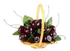 heap of artificial cherries - stock photo