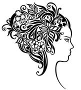 Girl with a beautiful flowers in her hair - stock illustration