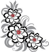 Decorative floral illustration - stock illustration