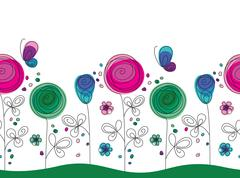 Artistic colorful seamless flower pattern Stock Illustration