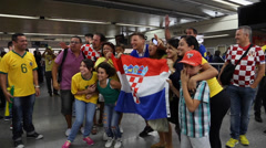 Croatians Fans celebrate with Brazilians Stock Footage