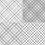 Stock Illustration of four mesh seamless patterns with dashed lines