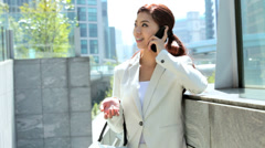 American Asian Japanese Girl Business Financial Executive Smart Phone Client Stock Footage