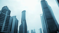 Shanghai Skyline in financial district of Pudong District, China Stock Footage