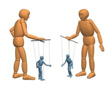 Stock Illustration of 3D puppets - people, managing dolls - puppets