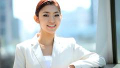 Portrait Young American Asian Japanese Girl Business Financial Executive Stock Footage