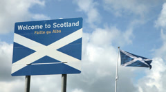 Welcome sign at Scottish Border Stock Footage