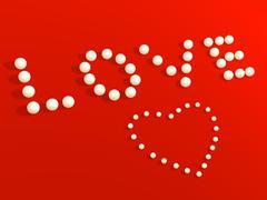 Stock Illustration of 3D heart from pearls, on a red velvet
