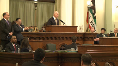 Jerry Brown California Governor gives state speech, Legislators at Capitol Stock Footage