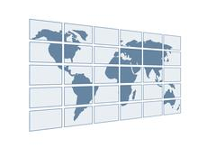 Stock Illustration of 3d map of the world on transparent screens. Objects over white