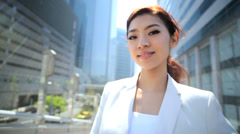 Portrait Young Ethnic Asian Japanese Businesswoman City Downtown Stock Footage