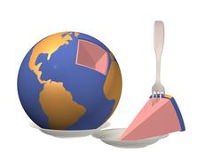Globe laying on a plate with the cut out piece Stock Illustration