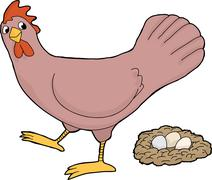 Hen with eggs Stock Illustration