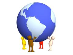 Stock Illustration of Four stylized persons holding on hands the Earth