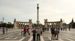 HEROES SQUARE MILLENIUM MONUMENT 1 LS TOURISTS Stock Footage