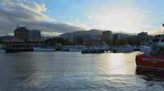 Harbor at Dusk in Hobart, Tasmania Stock Footage