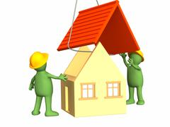 Stock Illustration of The 3d working puppets building the house