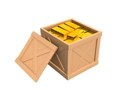 The open parcel, filled with gold ingots Stock Illustration