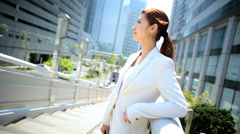 Asian Japanese Female Outdoors Business Successful Financial Career - stock footage
