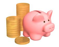 Stock Illustration of Columns of gold coins, near to a pig a coin box